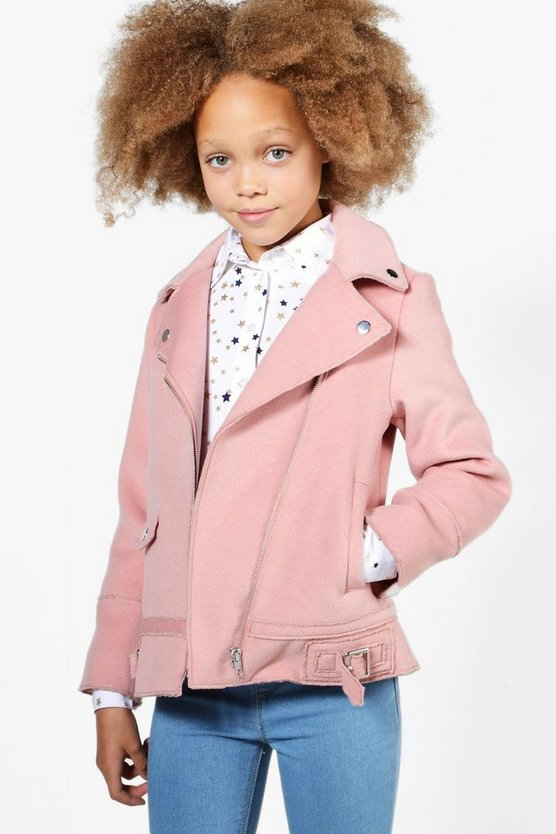 Girls Wool Look Biker Jacket