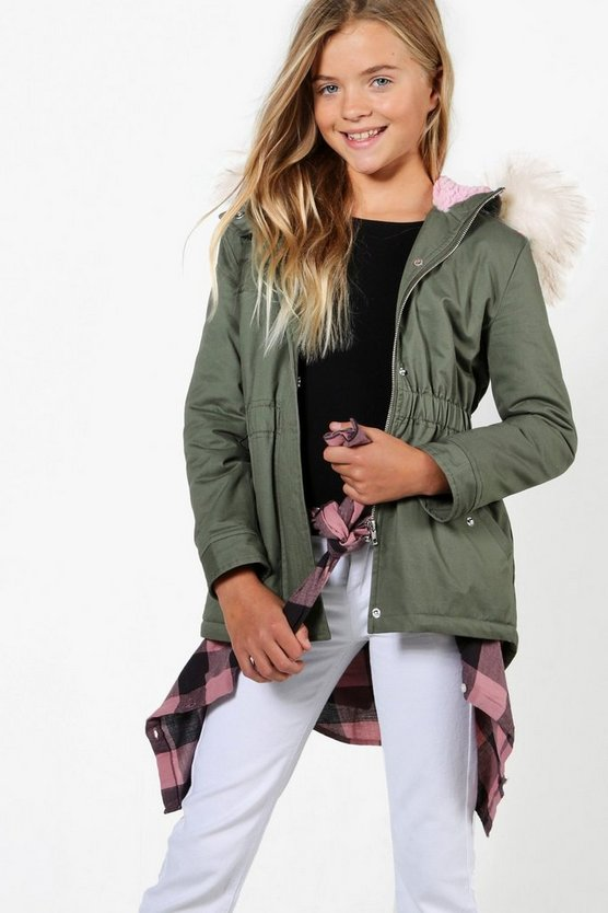 Girls Contrast Faux Fur Parka