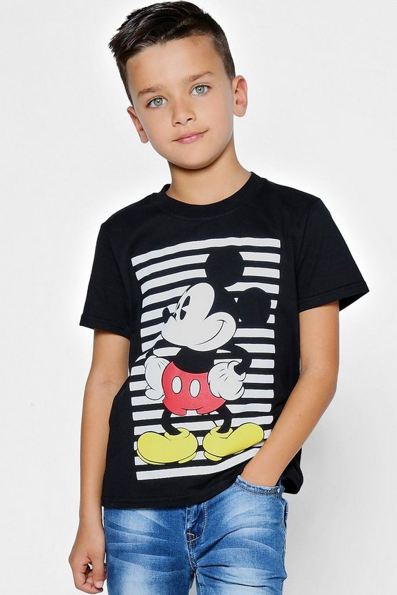 Boys Disney Mickey Striped Tee