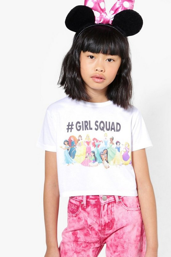 Girls Disney# Girl Squad Princess Crop Tee