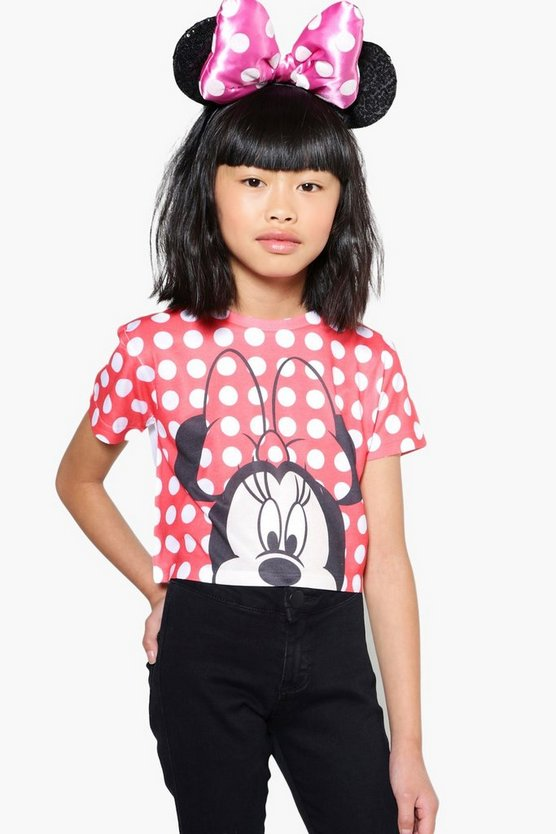 Girls Disney Minnie Dots Cropped Tee