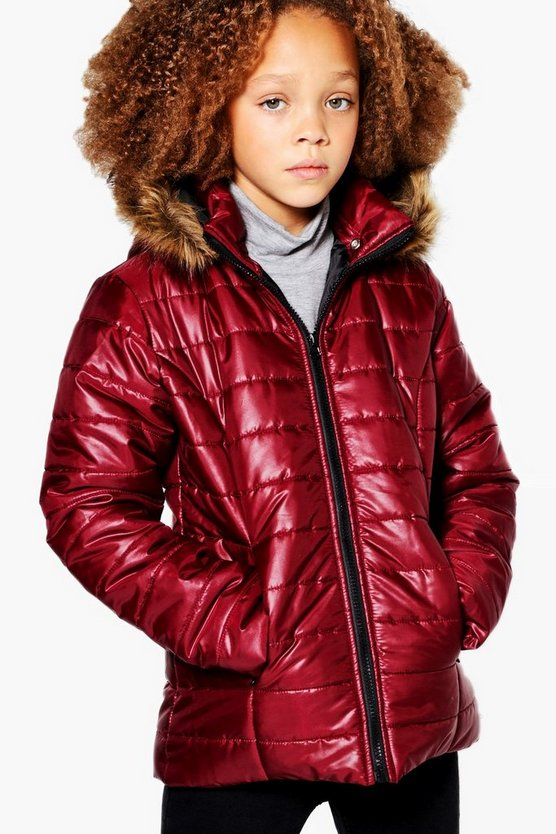 Girls Padded Faux Fur Hooded Coat