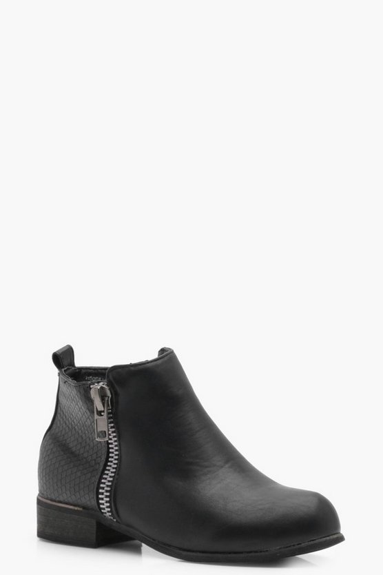 Girls Zip Trim Chelsea Boot