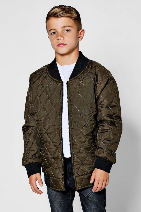 Boys Padded Quilted Bomber Jacket