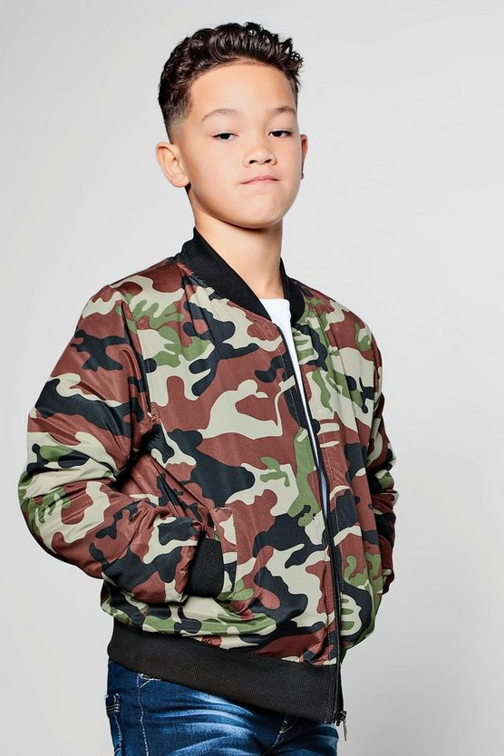 Boys Camo Bomber Jacket