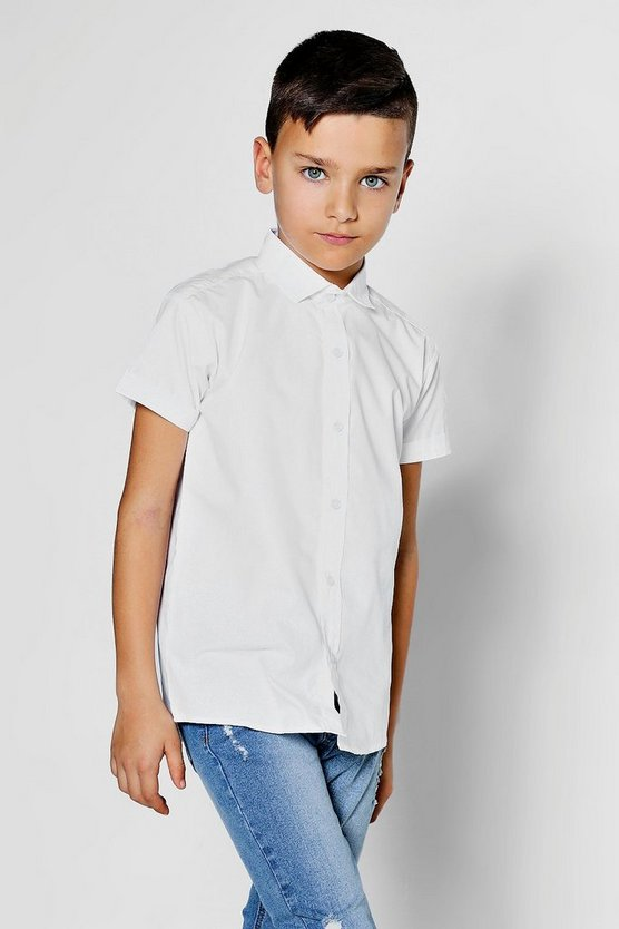 Boys Short Sleeved Poplin Shirt