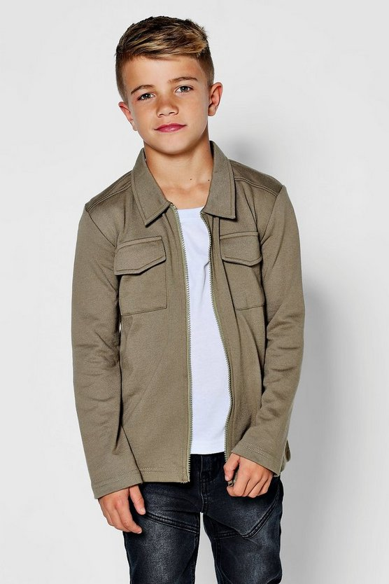 Boys Jersey Zipper Jacket Shirt
