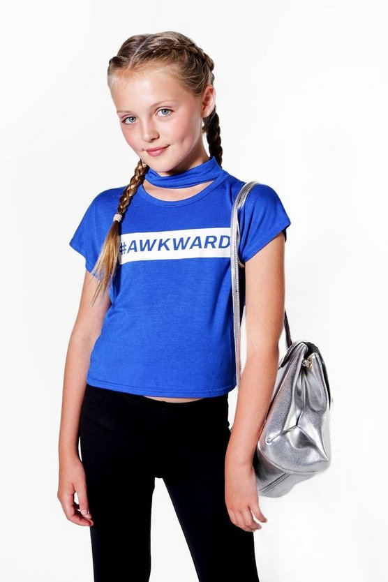 Girls # Awkward Crochet Cropped Tee