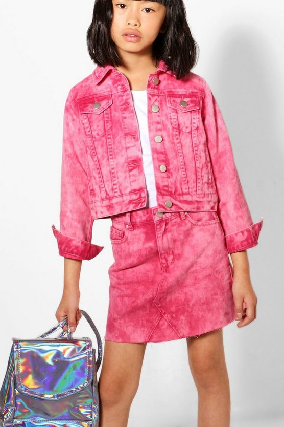 Girls Raspberry Acid Wash Denim Jacket