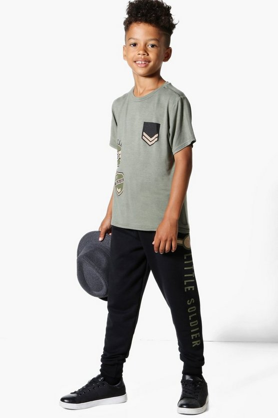 Boys Army Patchwork Joggers and Tee Set