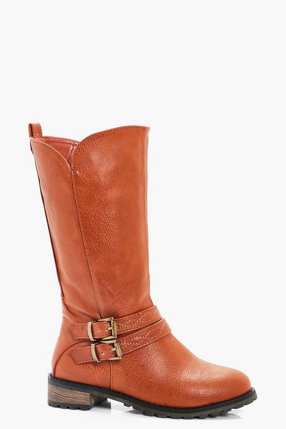 Girls Buckle Strap Rider Boot