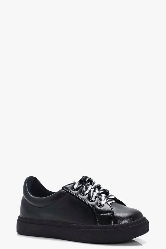 Girls Gingham Lace Trainer