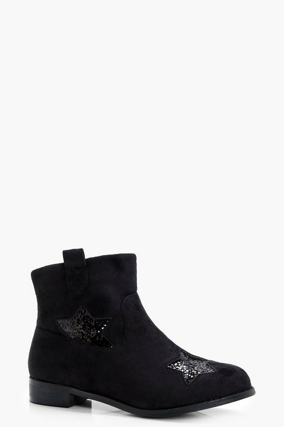Girls Star Detail Flat Boot