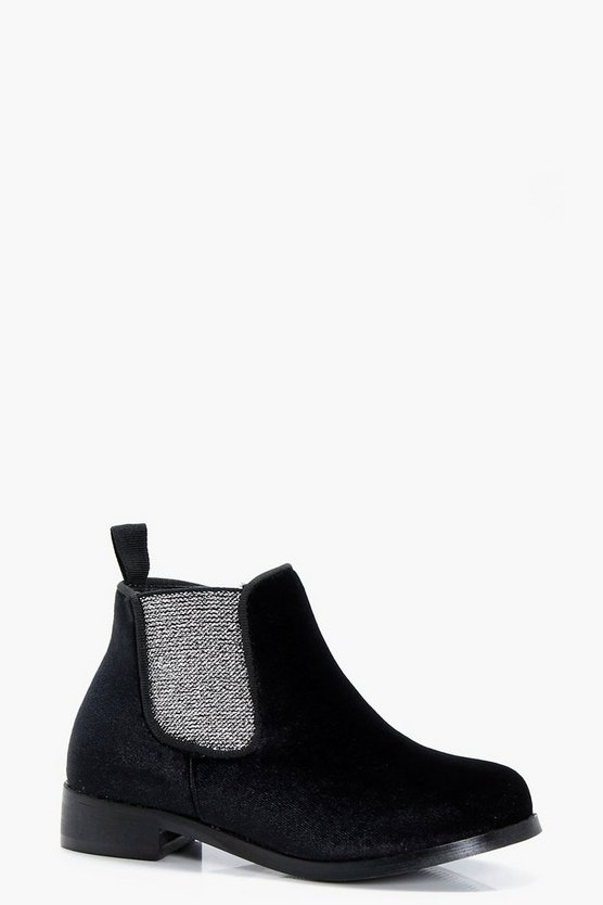 Girls Glitter Gusset Chelsea Boot