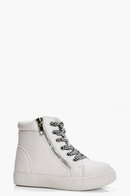 Girls Gingham Lace High Top