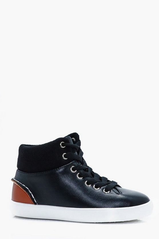 Boys Contrast Cuff High Top