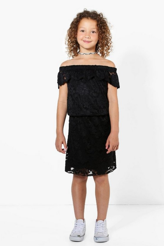 Girls Lace Scallop Bardot Dress