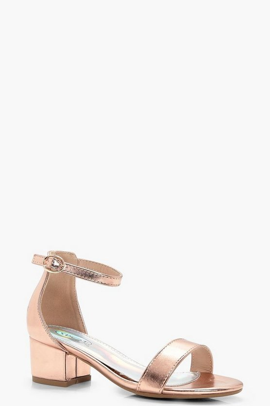 Girls Block Heel Two Part Sandal
