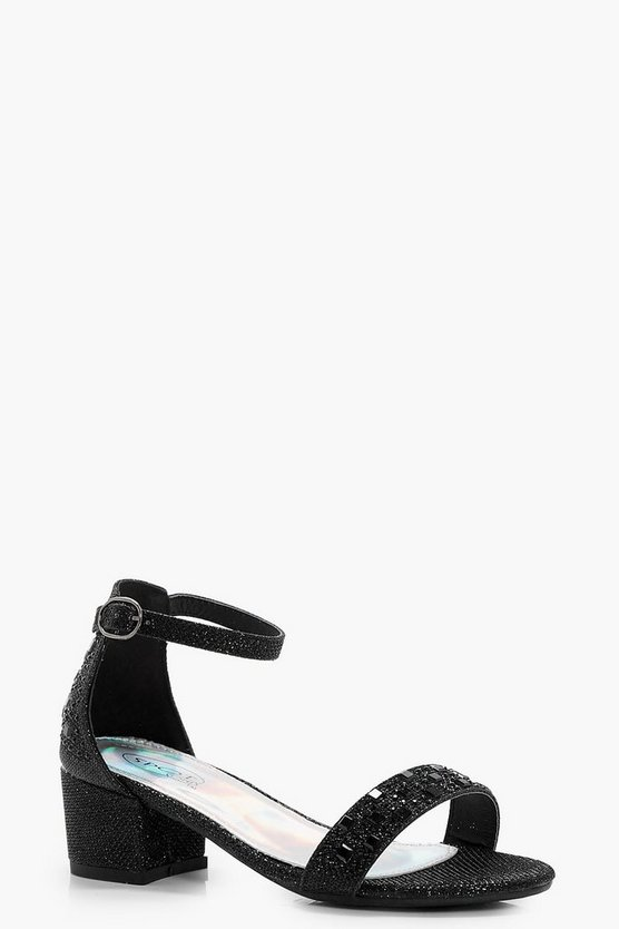 Girls Glitter Block Heel Sandal