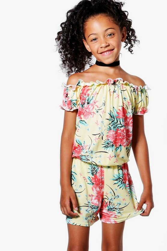 Girls Amelia Tropical Bardot Playsuit