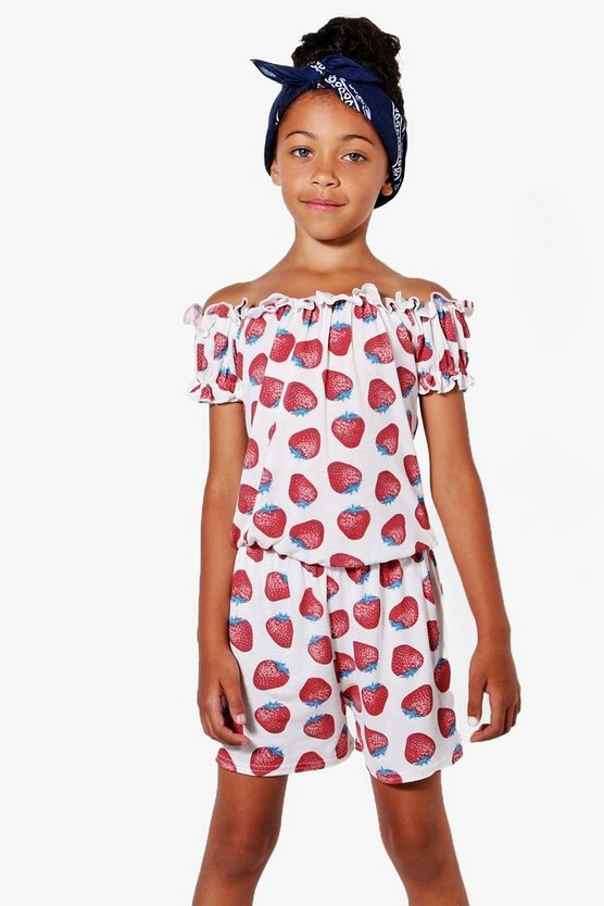 Girls Strawberry Print Bardot Playsuit