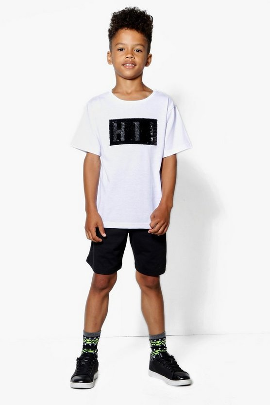 Boys Sequin Hi Bye Tee & Short Set