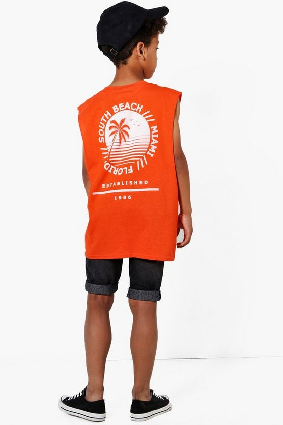 Boys South Beach Back Print Vest