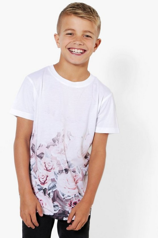 Boys Pink Floral Print Faded Tee