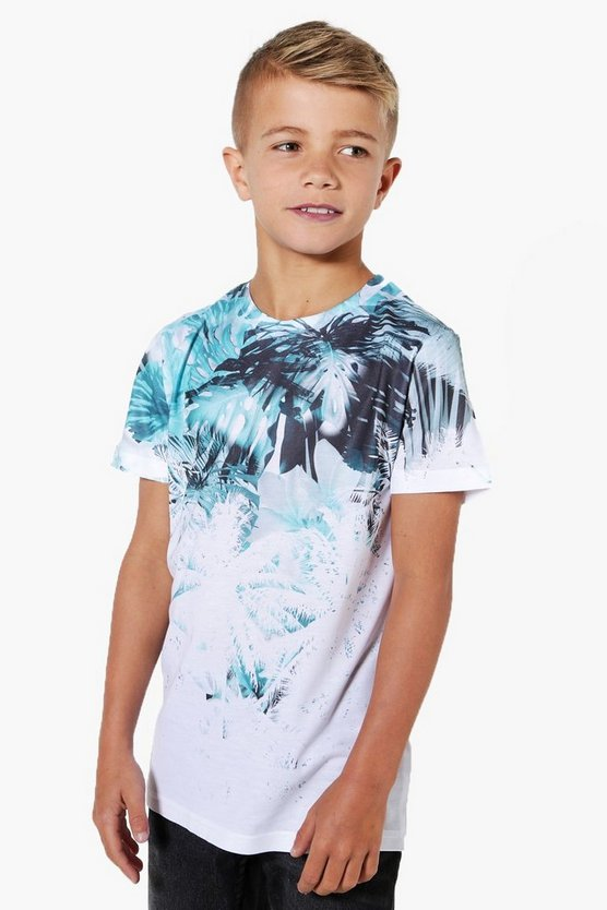 Boys Mono Palm Print Sublimation Tee