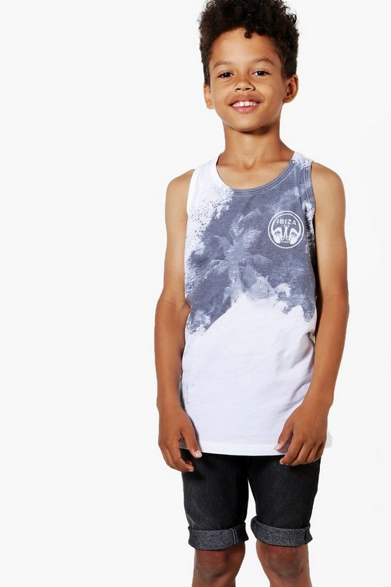 Boys Mono Palm Print Sublimation Vest