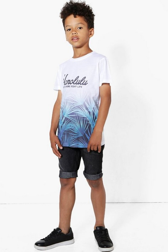 Boys Honolulu Palm Print Sublimation Tee