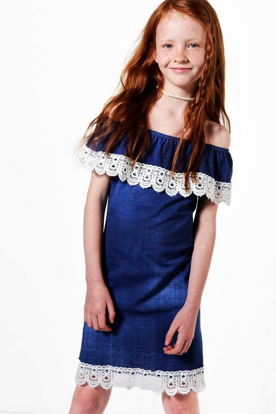 Girls Lace Trim Bardot Chambray Dress
