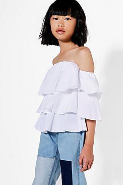 Mädchen Bluse aus Webmaterial mit stufigen Volants - Boohoo.com