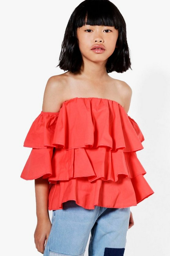 Girls Tiered Frill Woven Blouse