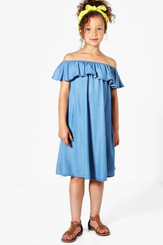 Girls Chambray Denim Bardot Frill Dress