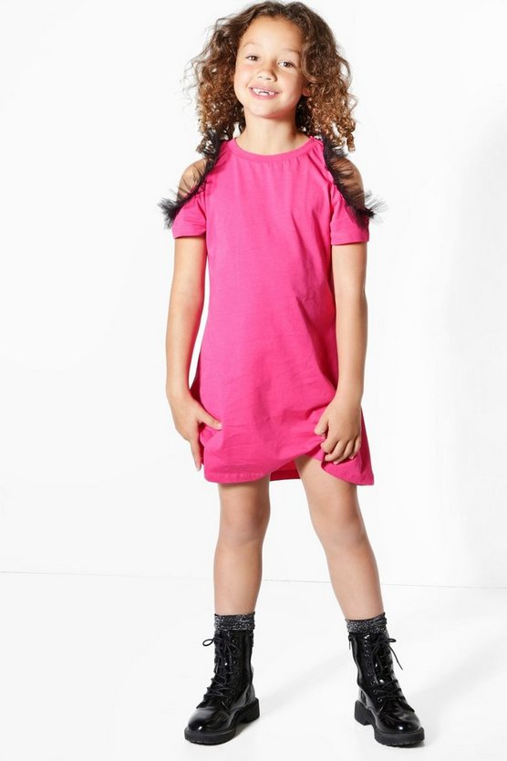 Girls Cold Shoulder Ruffle Mesh T-shirt Dress