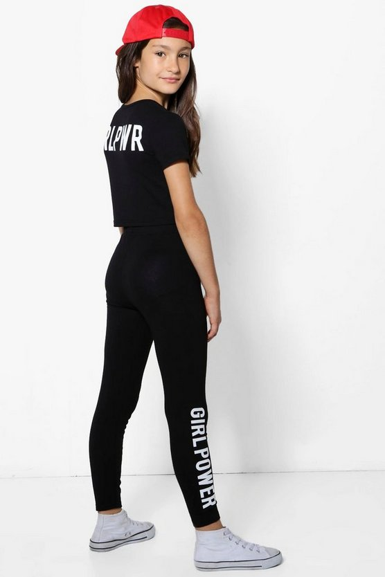 Girls Girl Power Back Print Top & Legging Set