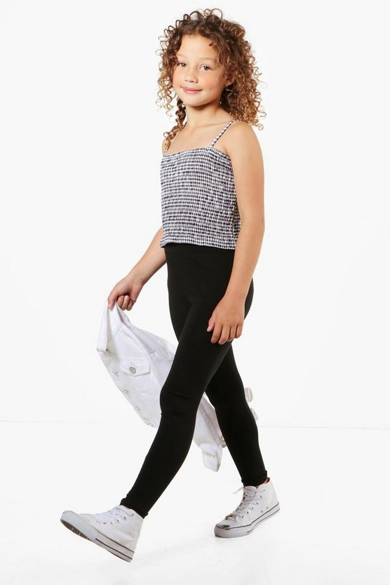 Girls Gingham Sheered Top & Legging Set