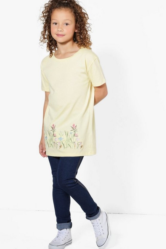 Girls Embroidered Hem T-Shirt