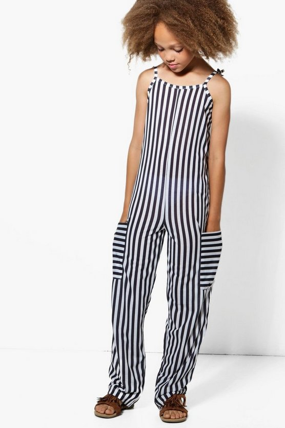 Girls Stripe Jumpsuit