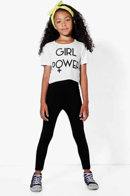 Girls Girl Power Cropped Tee & Legging Set