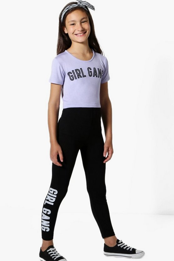 Girl Gang Cropped Top With Black Legging