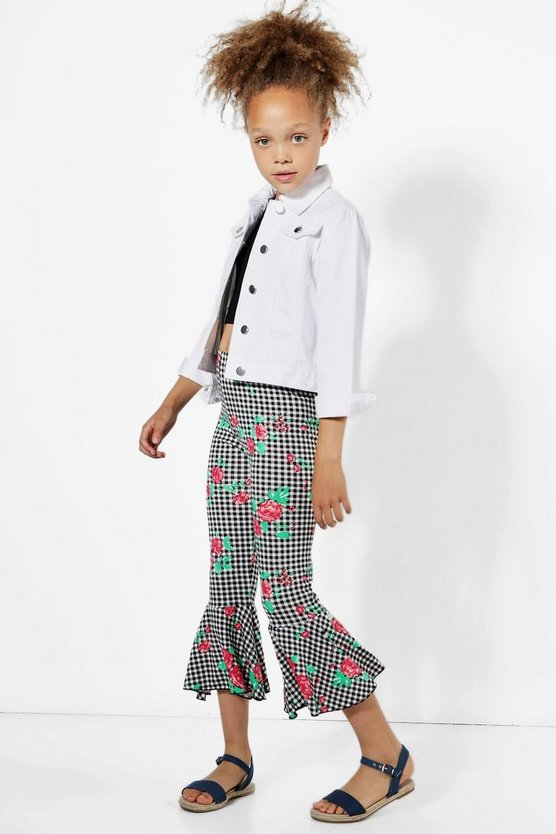 Girls Gingham Frill Hem Trouser