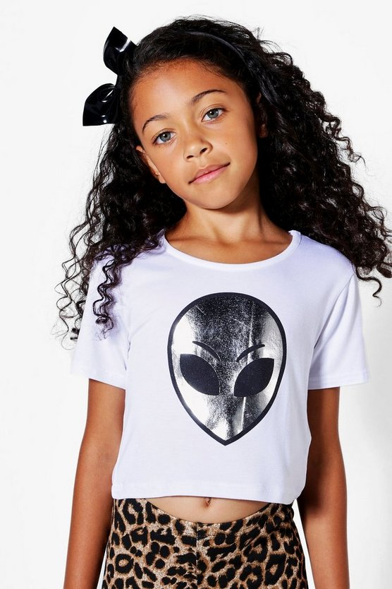 Girls Alien Placement Cropped Tee