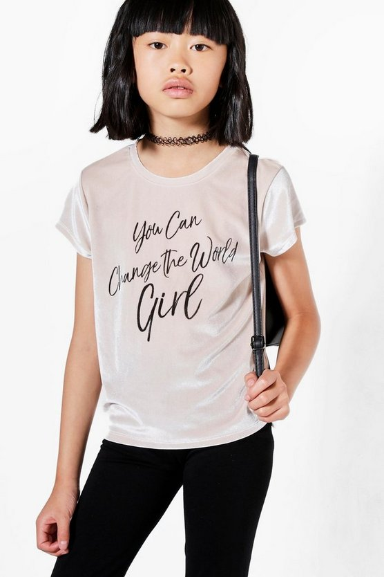 Girls Velour Slogan Tee