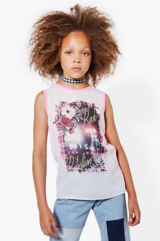 Girls Woven Front Sublimation Rock Vest