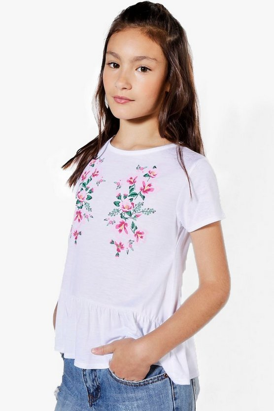 Girls Frill Hem Embroidered Tee