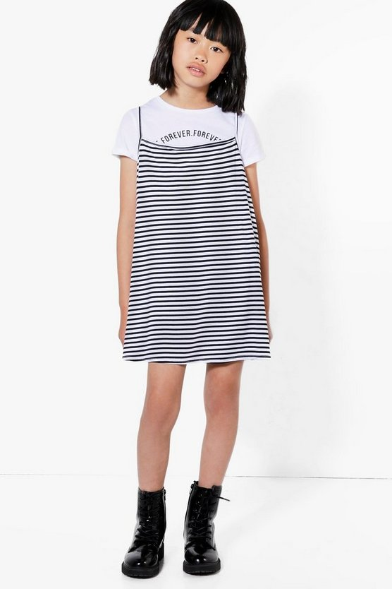 Girl Stripe Two Piece Dress & Tee Set
