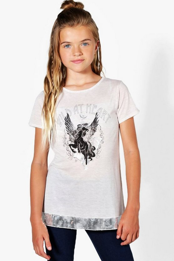 Girls Wild At Heart Sequin Hem Long Tee