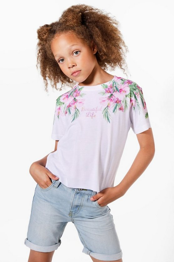 Girls Palm Beautiful Life Cropped Tee